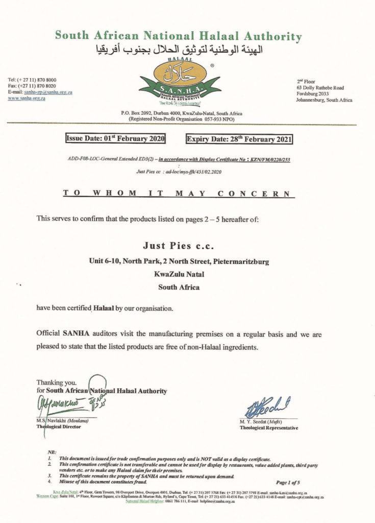 Halaal Certificate 2020